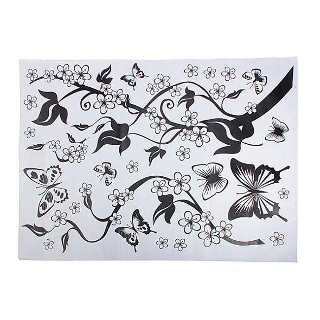 Autocolant cu model floral si fluturi 1