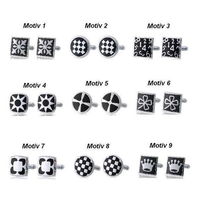 Manžetové knoflíčky s černým dekorem - na výběr z 9 motivů 1