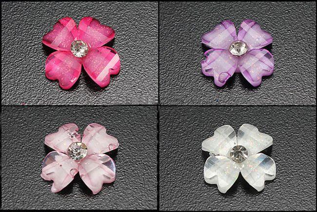 Dekoracyjne błyszczące kamyczki w kształcie kwiatków - 30 sztuk, oferujemy 4 kolory 1