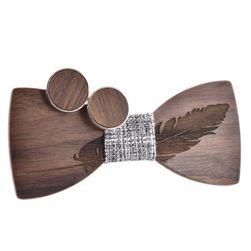 Dřevěný motýlek s pírkem + manžetové knoflíčky - různé barvy
