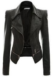 Bayan şık deri ceket Siyah-beden 8