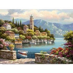 Bezrámový nedokončený obraz 40 x 50 cm - Romantický přístav