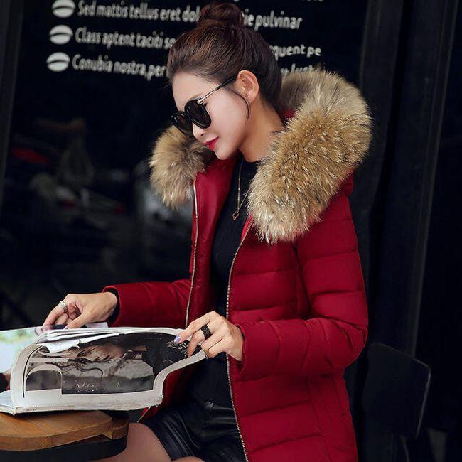 Dámská bunda s chlupatou kapucí - Vínová-velikost č. 5 1