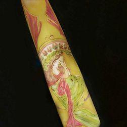Hedvábná ručně malovaná kravata Secese v zelené