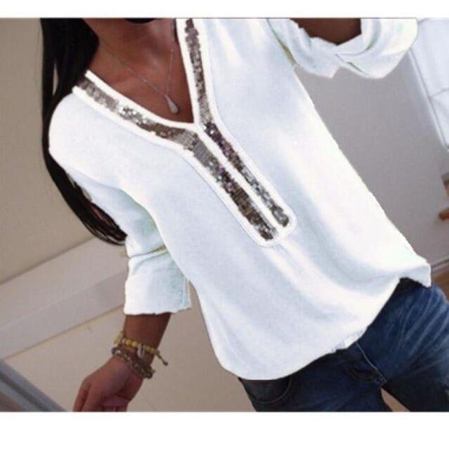 Moderna bluza sa sjajem u izrezu - 4 boje 1