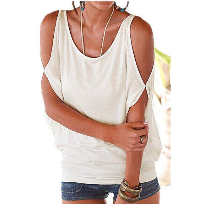 Dámské plus size tričko s otvory na ramenou - bílé, vel. 2 1