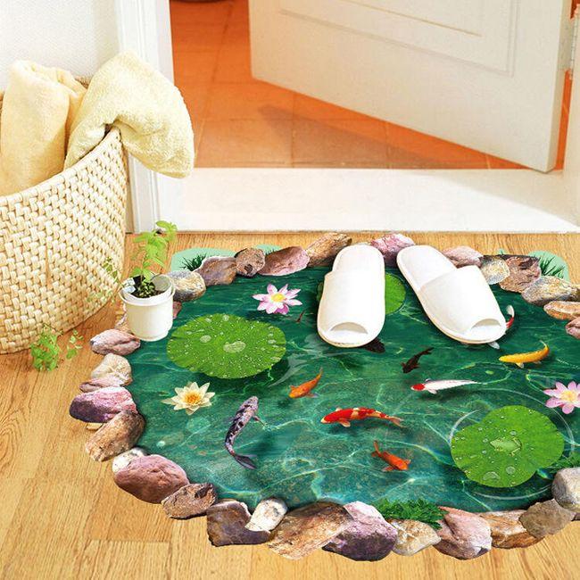 Autocoant 3D pentru podea - lac cu pești 1