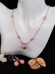 Készlet ékszerek rózsaszín gyöngy