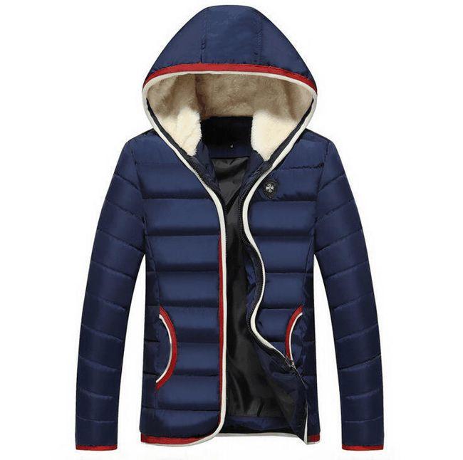 Zimní bunda s barevným okrajem - Modrá-velikost č. 7 1