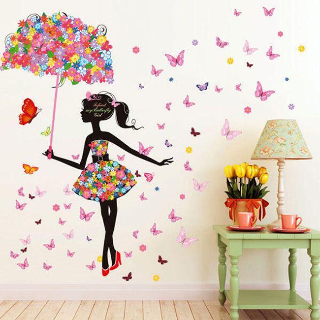 Fali matrica - lány virágos esernyővel 1