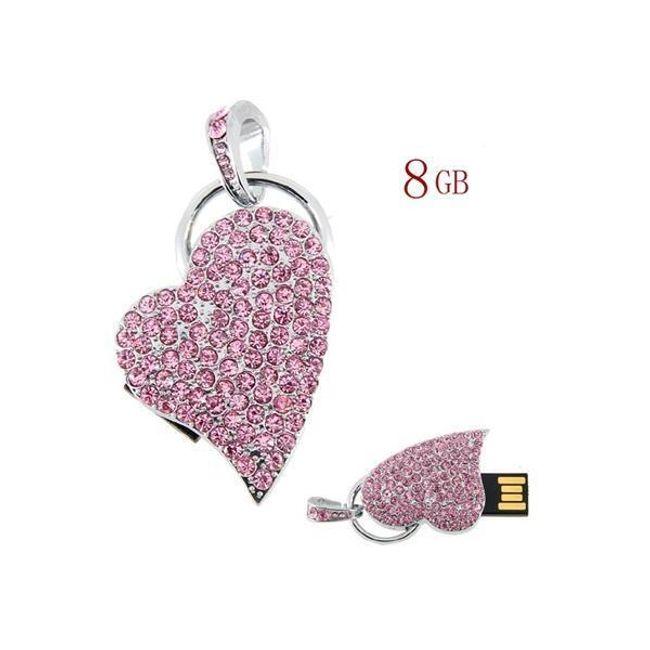 8GB Flashdisk ve tvaru srdce zdobený růžovými kameny 1