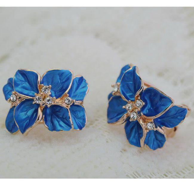 Náušnice s motivem květů s barevnými kamínky - ve 2 barvách 1