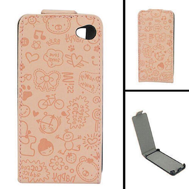 Koženkové designové ochranné pouzdro na iPhone 4 a 4S - hnědý leisure time 1