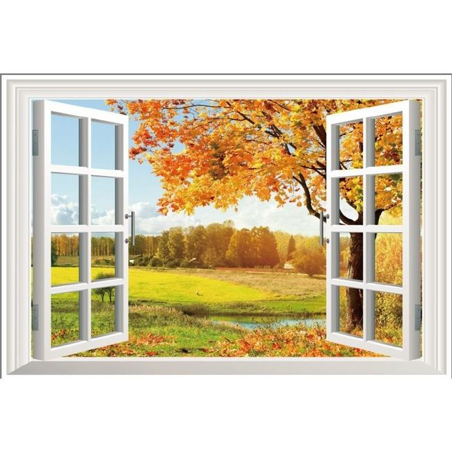 3D-s fali matrica - ablak őszi időre 1