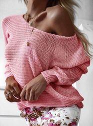 Női bő pulóver - rózsaszín