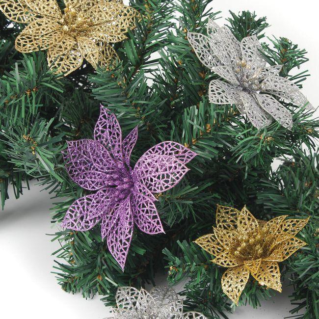 Műanyag dísz - Karácsonyi virág csillag 1