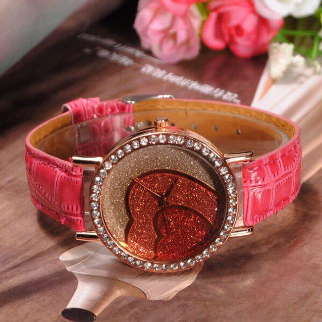 Červené hodinky se srdíčkem zdobené kamínky 1