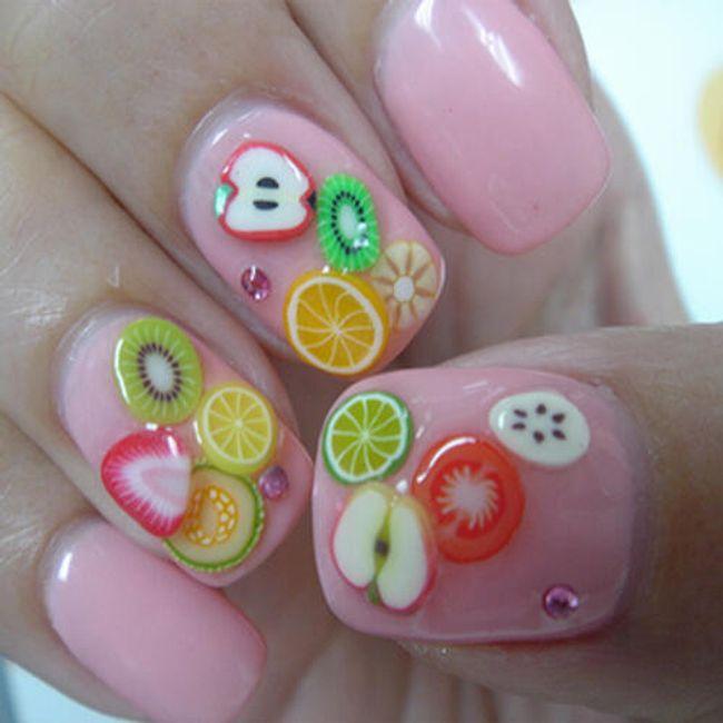 Kawałki fimo pałeczek do naklejania na paznokcie - owoce 120 szt 1