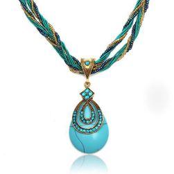 Výrazný vintage náhrdelník v tyrkysové barvě