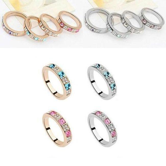 Elegantní prstýnek zdobený barevnými kameny - kov ve 2 barvách 1