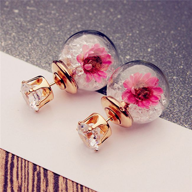Náušnice s barevnými krystalky a květinami 1