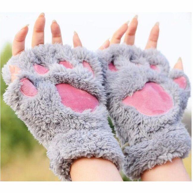 Chlupaté rukavice á la medvědí tlapky - 5 barev 1