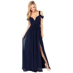 Plesové šaty s dvojitými ramínky - Modrá-velikost č. 6