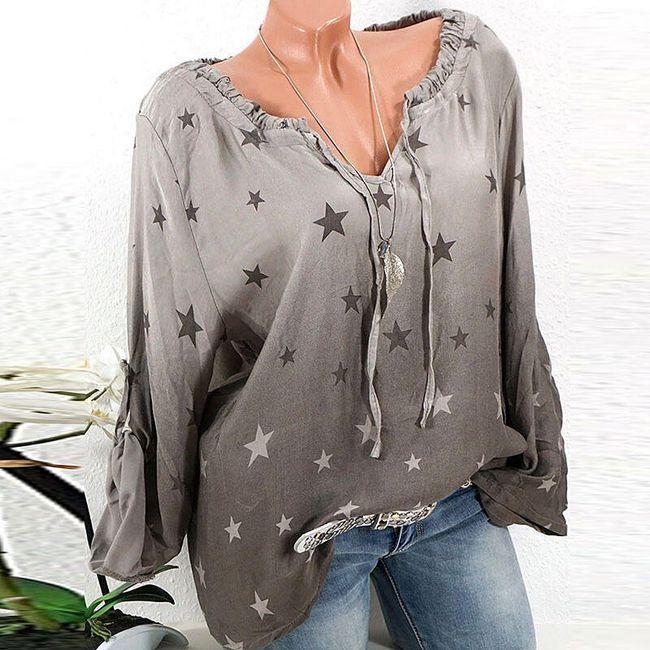 Volná halenka s hvězdičkami - Tmavě šedá - velikost č. 9 1
