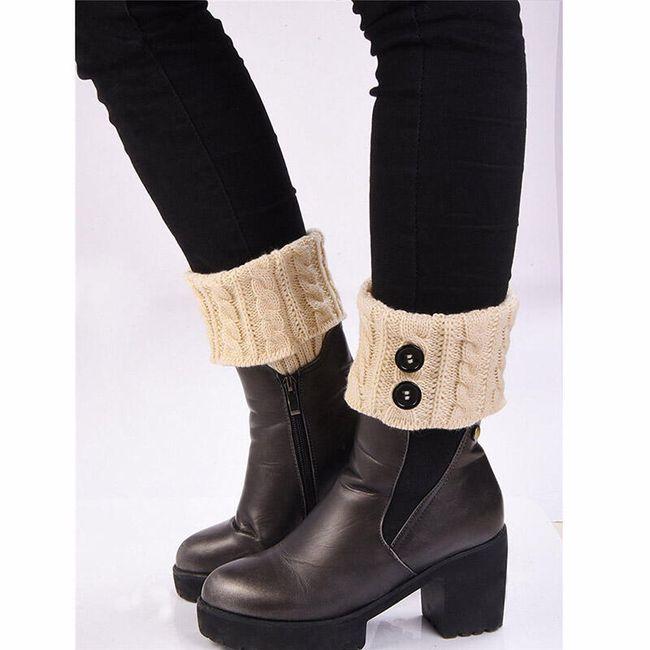 Dekorativní punčochy na boty - béžová barva 1