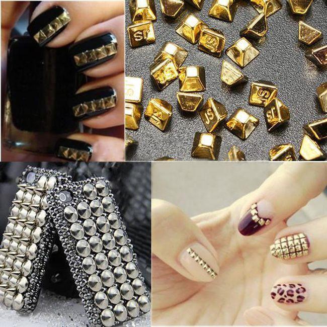 Metalické nalepovací 3D ozdoby na nehty  1