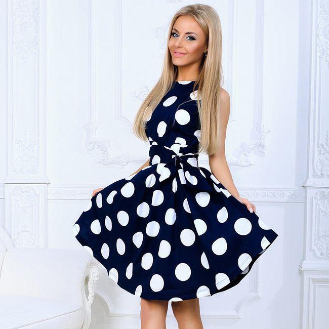 Ženska vintage haljina sa velikim tačkama - 2 boje 1