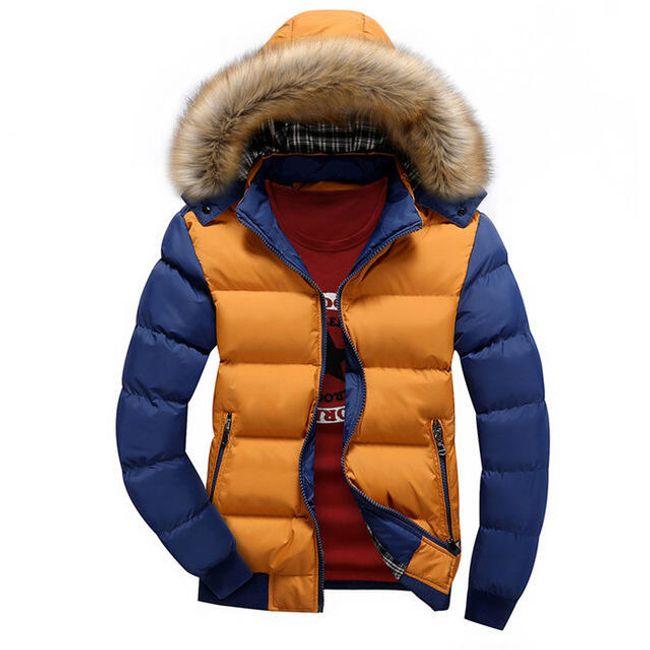 Zimní bunda Edmondo s kožíškem i bez - Žlutá modrá-velikost č. XXL 1