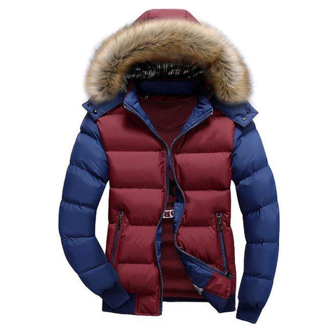 Zimní bunda Edmondo s kožíškem i bez - Červená modrá-velikost č. XXL 1