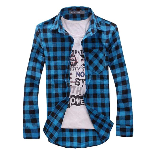 Pánská košile s kostkovaným vzorem -  7 barev 1