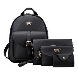 Komplet plecak, torebka i portfele - czarny kolor