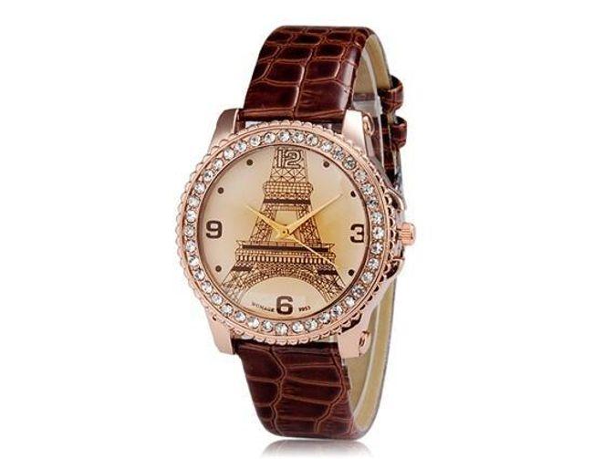 Zegarek z kamyczkami i motywem wieży  Eiffela 1