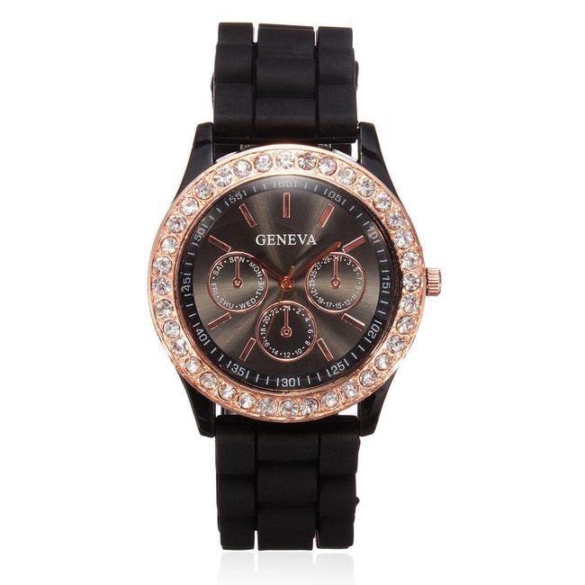 Ženeva silikonska ura v 11 privlačnih barvah - črna 1