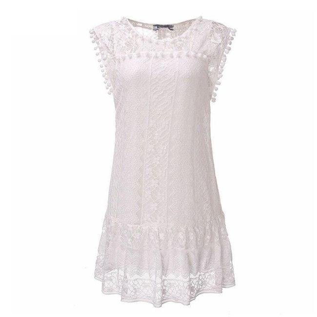 Bohémské letní šaty s krajkou a bambulkami - Bílá-6 1