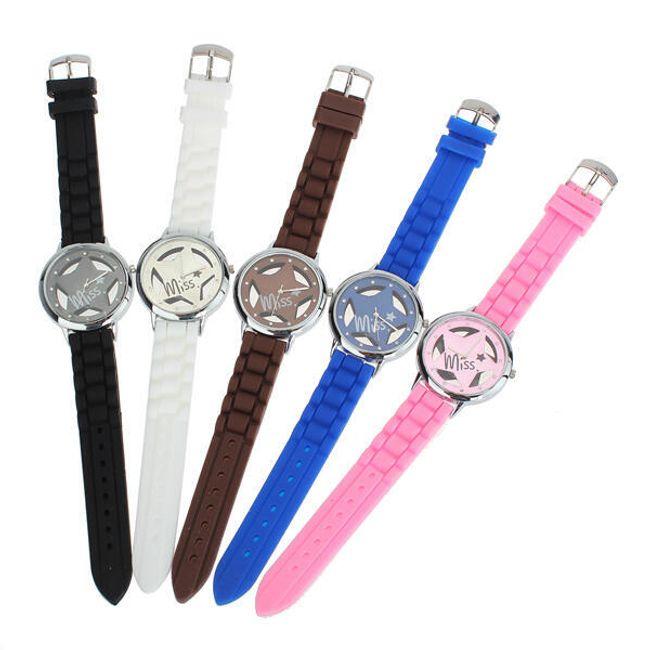 Dámské hodinky s hvězdou a silikonovým páskem - v 5 barvách 1