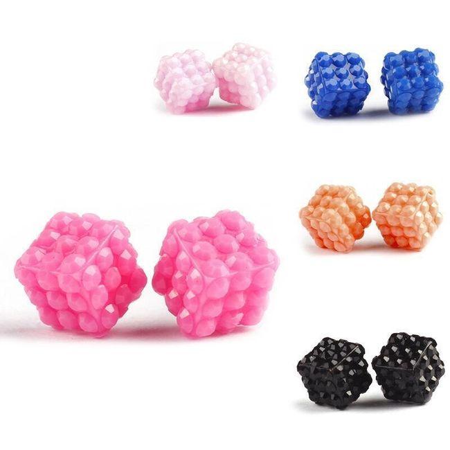 Mini színes fülbevaló kocka alakú 1