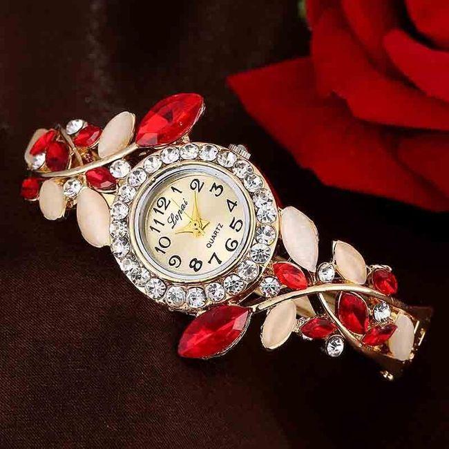 Ceas de damă cu curea bogat decorată 1