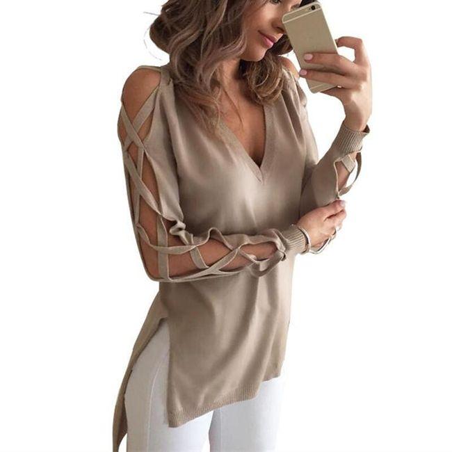 Dlouhé dámské tričko s otevřenými rukávy 1