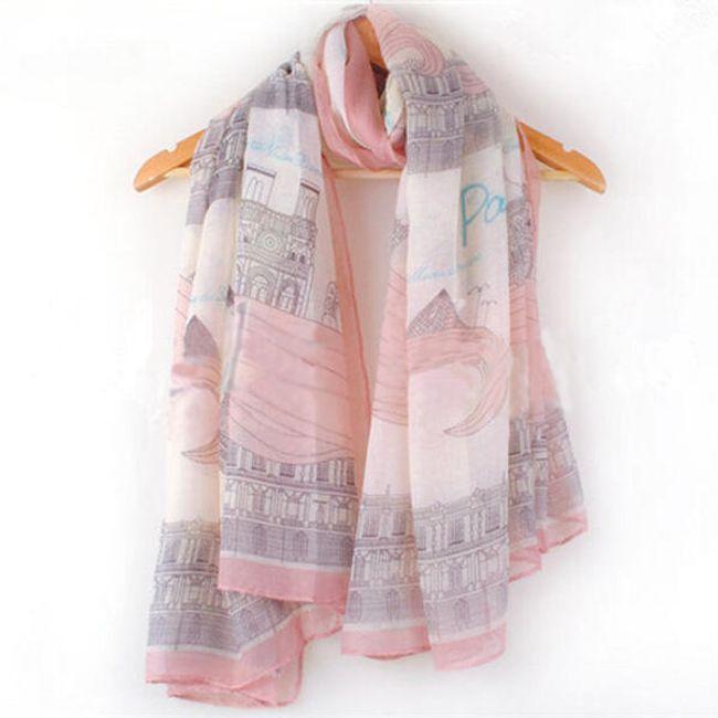 Moderní šátek v růžovém provedení 1