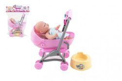 Niemowlę / lalka przegubowa 12cm w wózku 10x14x18cm plastik z akcesoriami w torbie RM_00311987