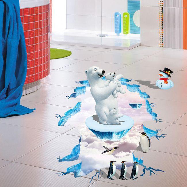 Autocolant 3D pentru podea - urși polari și pinguini 1