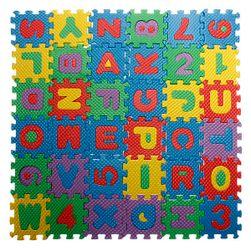 Köpük yapboz oyuncak - alfabe ve sayılar - 5 x 5 cm