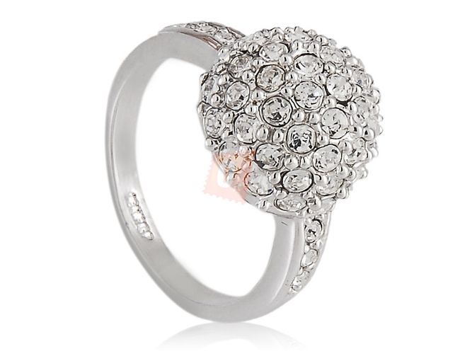 Prstýnek s kamínky - stříbrná barva 1