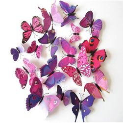 12 tane yapışkanlı duvar 3D kelebek - farklı renkler