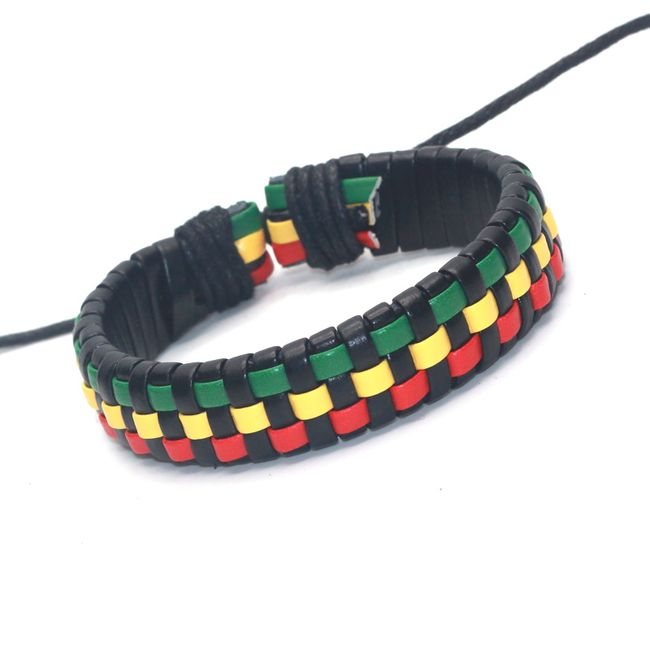 Kožený rastafariánský náramek - různé druhy 1