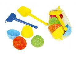 Sada na piesok plast lopatka, hrabličky, 4ks bábovky v sieťke RM_49019009
